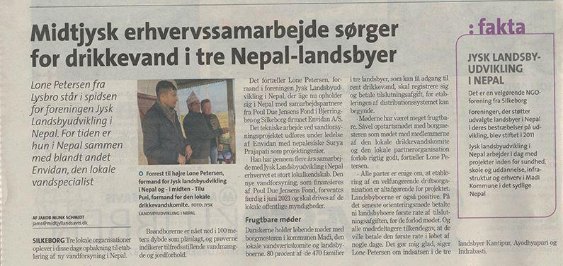 Drikkevandsprojekt Jysk landsbyudvikling i Nepal