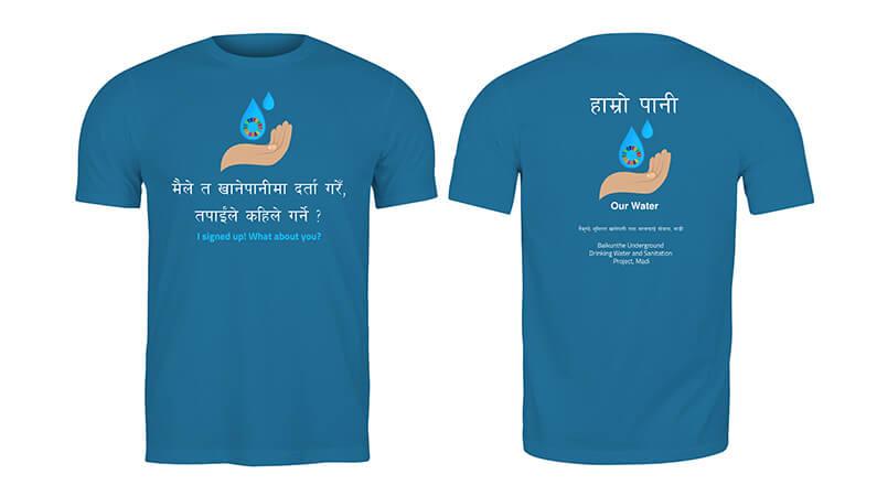 T-shirt med drikkevandsprojektets logo