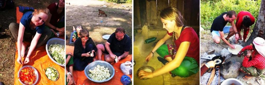 Lea, Ulla, Preben, Marie og Morten laver festmad til deres nepalesiske værter - sel roti og tarkaari