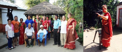 Helle, Lone, Umesh og Dorte sammen med familien Bhandari